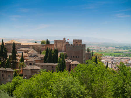 alhambra: view of the Alhambra castle in Granada, Andalusia, Spain  Stock Photo