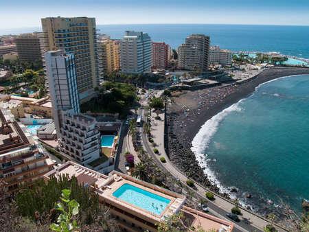 Beaches and hotels of Puerto de la Cruz, Tenerife, Spain photo