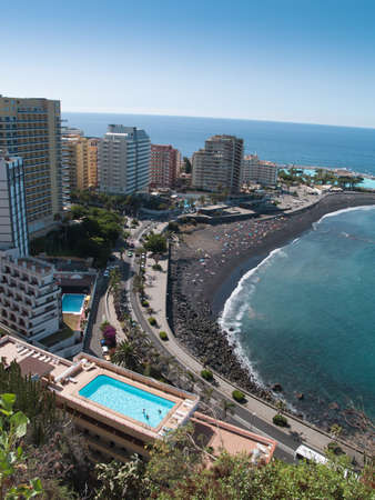 puerto: Beaches and hotels of Puerto de la Cruz, Tenerife, Spain Stock Photo
