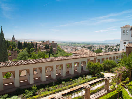 view of the Alhambra castle and Generalife in Granada, Andalusia, Spain
