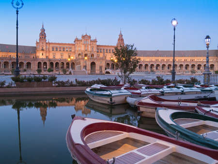 Plaza de Espana  Square of Spain  in Seville, Andalusia at night photo