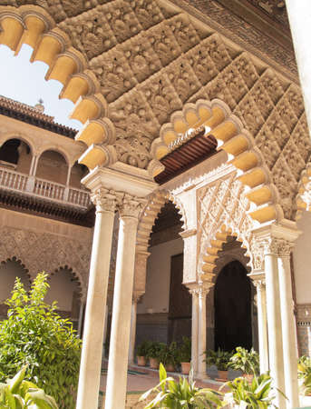 mudejar: Patio de las Doncellas in Royal palace, Real Alcazar, of Seville, Spain