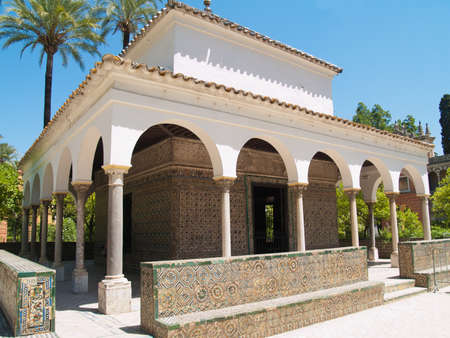 Pavilion of Carlos V, in gardens of Alcazar of Sevilla (built in 1360), Andaluz, Spain Editorial