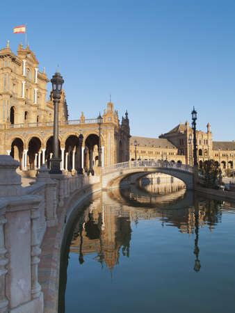 Plaza de Espana (Square of Spain) in Seville, Andalusia at sunset