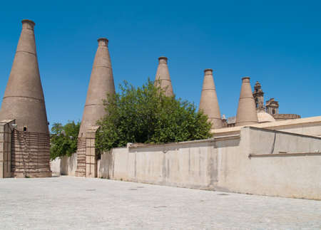 Old ceramic chimneys of monastery of Cartuja, Seville, Andalusia, Spain