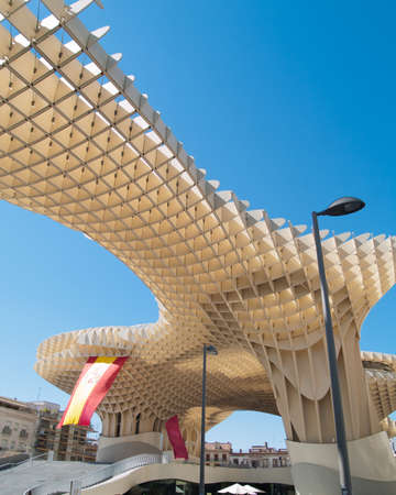eggtray: SEVILLA,SPAIN - JUNE 2012  Metropol Parasol in Plaza de la Encarnacion on June 2012 in Sevilla,Spain  J  Mayer H  architects, it is made from bonded timber with a polyurethane coating