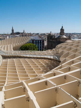 eggtray: SEVILLE,SPAIN - JUNE 2012  Metropol Parasol in Plaza de la Encarnacion on June 2012 in Sevilla,Spain  J  Mayer H  architects, it is made from bonded timber with a polyurethane coating