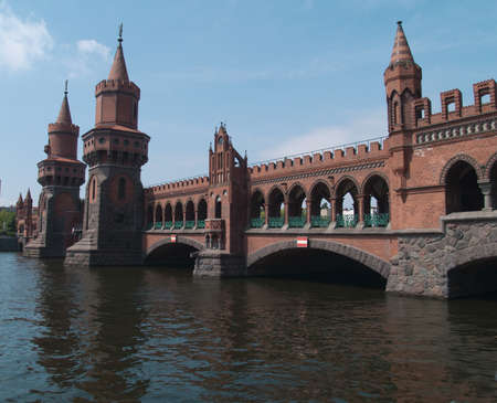 Oberbaumbrucke across the Spree, longest bridge of Berlin Stock Photo