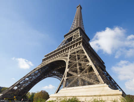 sunlit Eiffel Tower, Paris, against blue sky Stock Photo - 16393910