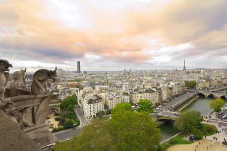 gargoyles: panoramic view from balcony of Notre Dame de Paris with famous gargoyles at sunset