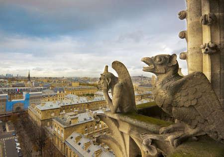 gargoyles: Gargoyles of Notre Dame over Paris aerial Stock Photo