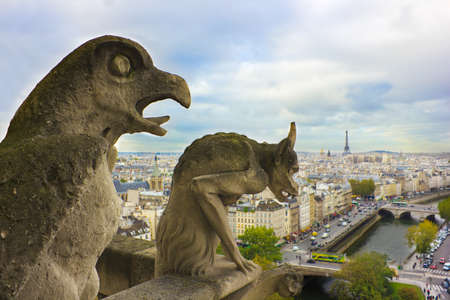 Faymous figures of gargoyles of Notre Dame (built in 1240) over Paris aerial Stock Photo - 16535925