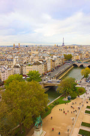 Paris, France, panoramic aerial view from Notre Dame photo