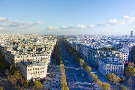 Paris, France, panoramic aerial view of Avenue des Champs-Elysees from Arc de Triomphe
