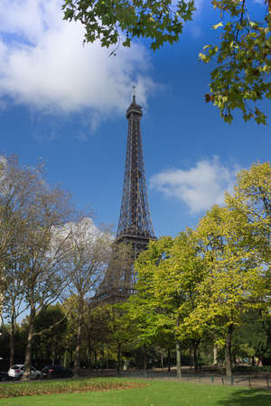 Eiffel Tower, Paris, as viewed from park