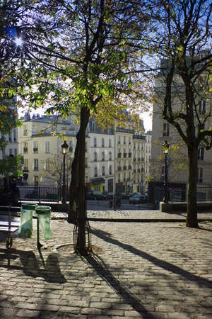 Morning in park of Monmartre, Paris, France