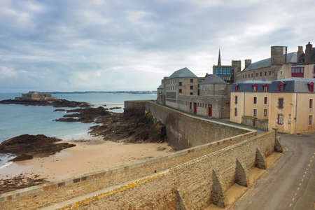 castle walls of Saint Malo, France, over sea Editorial