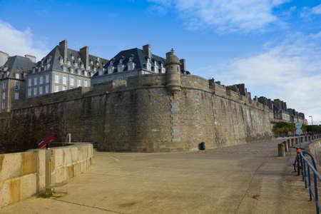 castle walls of Saint Malo old city over sea embankment Stock Photo - 16817150