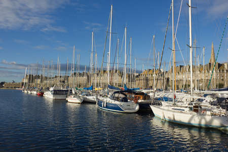 yachts in harbor of Saint Malo, France, old town photo