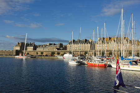 yachts in harbor of Saint Malo, France, old town Stock Photo