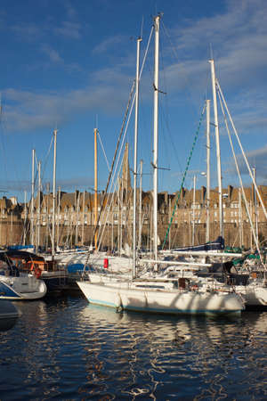 st malo: yachts in harbor of Saint Malo, France, old town Stock Photo