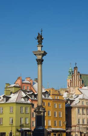 King Sigismund column  erected in 1644  on castle square, Warsaw, Poland