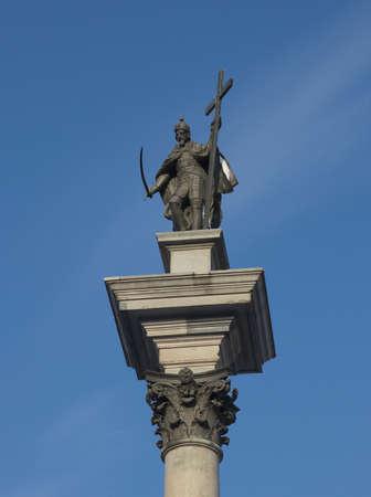 King Sigismund column  erected in 1644  of castle square, Warsaw, Poland