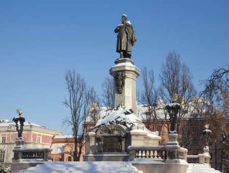 mickiewicz: Great poet Adam Mickiewicz monument (constructed in 1897-1898) Warsaw, Poland.