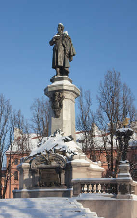 mickiewicz: Great poet Adam Mickiewicz monument (constructed in 1897-1898) Warsaw, Poland.  Editorial