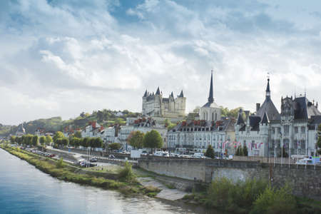 view of town Saumur from Loire Valley, France Editorial