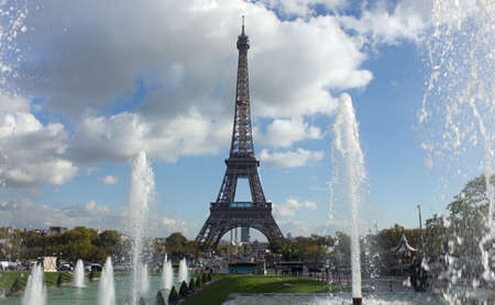 view of Eiffel Tower over fountains, Paris, France
