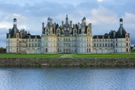 chambord: Chambord palace after rain at sunset, Loire Valley, France