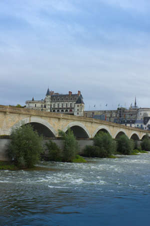 Roman bridge over Loire river and Chateau de Amboise, France Stock Photo - 18369606