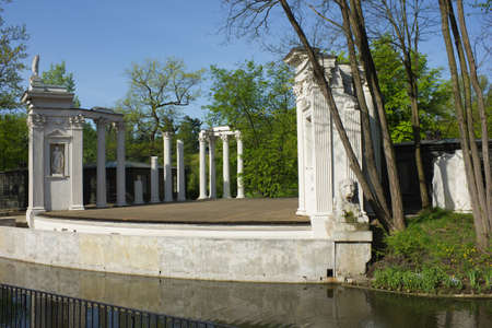 Roman inspired theater of Lazienki Palace in Warsaw, Poland at summer photo