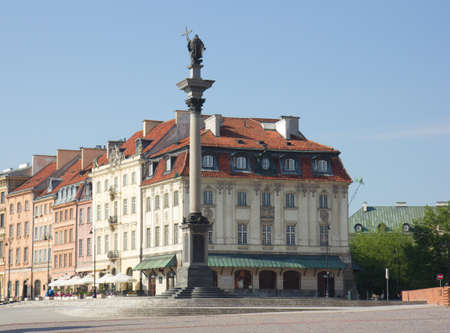 King Sigismund column (erected in 1644) on castle square, in old town of Warsaw, Poland