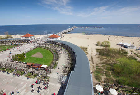 aerial view of famous spa resort at the seaside, Sopot, Poland at summer