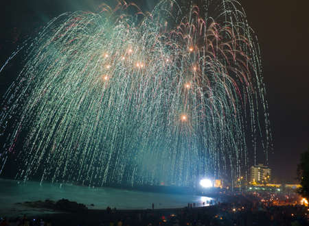 Fireworks at Tenerife beach over Atlantic ocean, Spain  Stock Photo