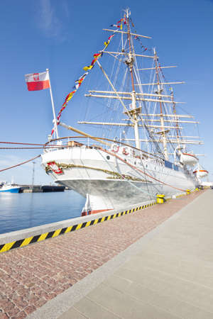 beautiful white sailing ship in the port of Gdynia, Poland photo