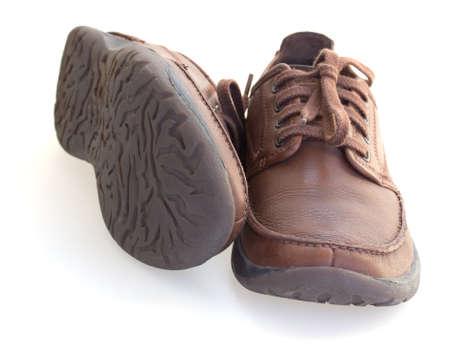 braunem Leder M�nner Schuhe isoliert �ber wei� Lizenzfreie Bilder