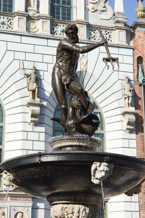 famous roman god Neptune fountain in Gdansk, Poland, made in 1633