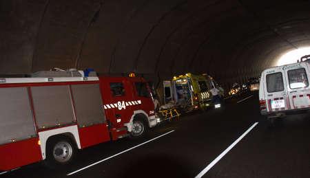 SANTA CRUZ, SPAIN - JULY 17: Severe traffic accident in highway underground tunnel on July 17, 2013 in Santa Cruz, Spain  Editorial