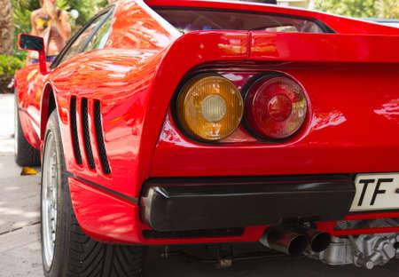 PUERTO DE LA CRUZ - JULY 14: Rear view of a Ferrari 288 GTO at town boulevard, on July 14, 2013 in Puerto de la Cruz, Spain. Ferrari 288 GTO is Group B racing car designed for Gran Torismo. Editorial