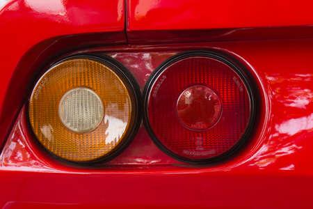 PUERTO DE LA CRUZ - JULY 14: Detail of a Ferrari 288 GTO at town boulevard, on July 14, 2013 in Puerto de la Cruz, Spain. Ferrari 288 GTO is 1984-86 Group B racing car.