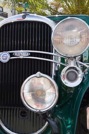 PUERTO DE LA CRUZ - JULY 14: Oldsmobile F31 coupe grill, on July 14, 2013 in Puerto de la Cruz, Spain. Oldsmobile F31 (1931) is classic american car.