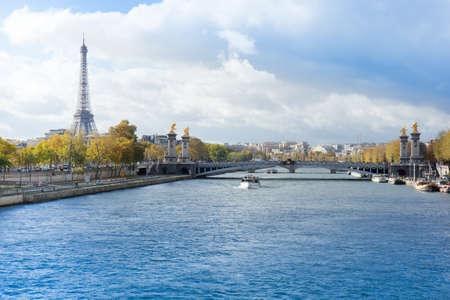 panoramic view of autumn Seine river with Eiffel Tower with Alexander the Third bridge, Paris Stock Photo - 21422132