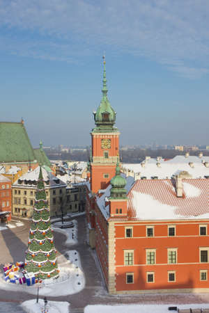 Warsaw Castle Square with christmas tree and decorations at winter from above, Poland