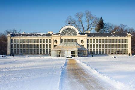 Panorame of old orangery in Lazenki park, Warsaw, Poland at winter