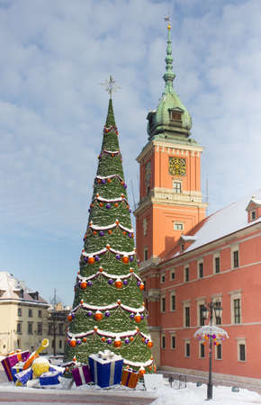 Warsaw Castle Square at winter with christmas tree and decorations