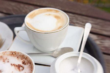 cappuccino coffee cup and chocolate with sugar bowl on wooden table in the garden with ladybird on saucer - dynamic blur shot