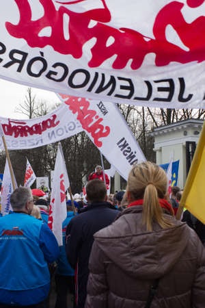 annexation: WARSAW - MARCH 8: Protesters rally near russian embassy against invasion to Crimea, Ukraine during an event organized by Solidarity trade union in Warsaw, Poland on March 8, 2014